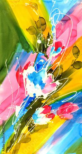 Zdjęcia na płótnie, fototapety na wymiar, obrazy na ścianę : 바틱 기법의 추상 수채화 꽃