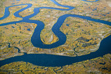Aerial view of marsh, wetland abstraction of salt and seawater, and Rachel Carson Wildlife Sanctuary in Wells, Maine
