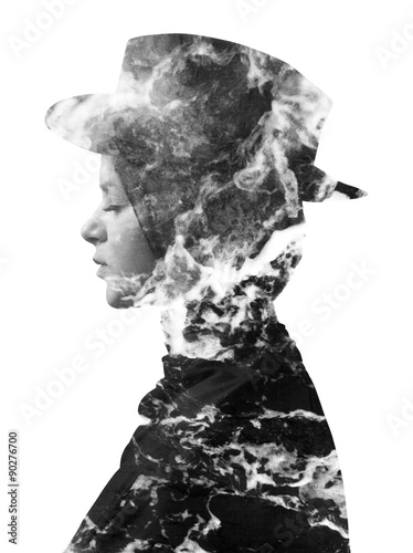 Double exposure of girl wearing hat and sea foam monochrome - 90276700