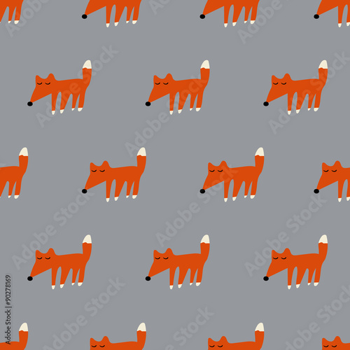 seamless cute fox pattern