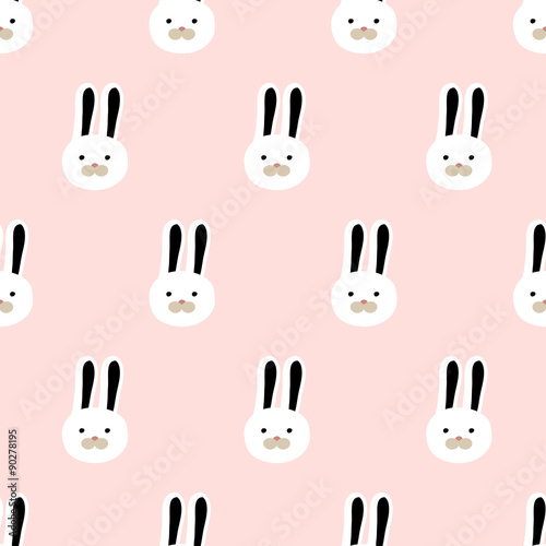 seamless cute bunny pattern - 90278195
