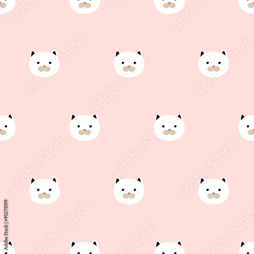 seamless cute kitten pattern - 90278199