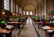 Interior view of reading area of historic Boston Public Library, McKim Building, Boston, MA.