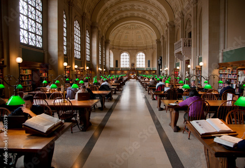 Interior view of reading area of historic Boston Public Library, McKim Building, Boston, MA.