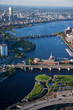 AERIAL VIEW of bridges crossing Charles River, looking east toward Cambridge from Boston, MA.