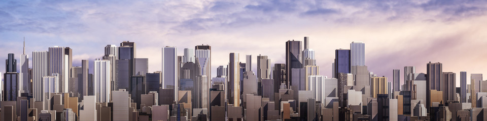 Day city panorama / 3D render of daytime modern city under bright sky © grandeduc
