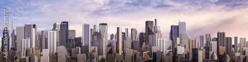 Fototapeta Day city panorama / 3D render of daytime modern city under bright sky