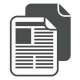 Icono aislado copiar documento gris