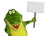 Croc with a blank sign poster