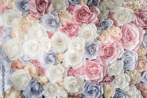Poszter Backdrop of colorful paper roses