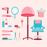 Hair salon equipments set, hairdressing, beauty, hair shop, accessories, objects, icons
