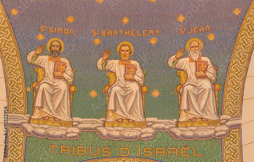 Jerusalem - mosaic of apostles in Church of St. Peter in Gallicantu.