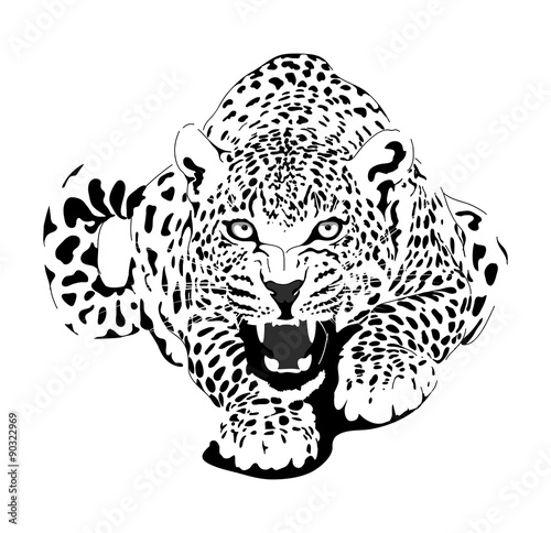 Naklejka Leopard in black interpretation