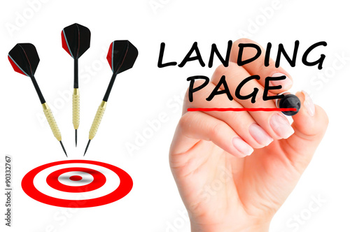 Poster Landing page concept with darts arrows and a target