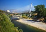 View of Millennium bridge over Moraca river in the center of Podgorica, Montenegro poster