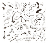 Fototapety vector hand drawn arrows icons set on white