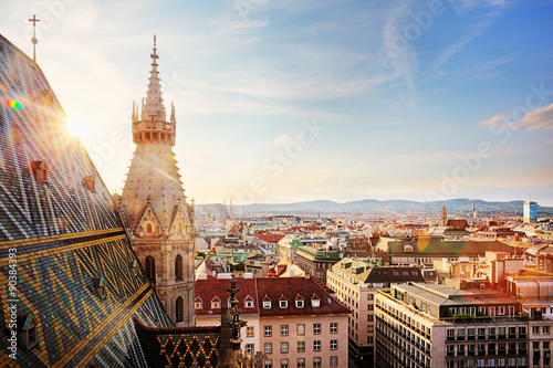 obraz lub plakat Vienna, St. Stephen's Cathedral, view from north tower