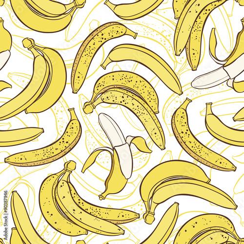 Vector seamless pattern of bananas.