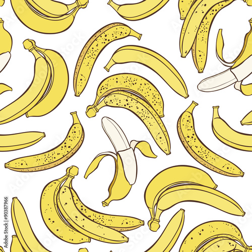 Vector seamless pattern of bananas on white background