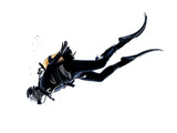 Mężczyzna scuba nurka nurkowania sylweta samodzielnie