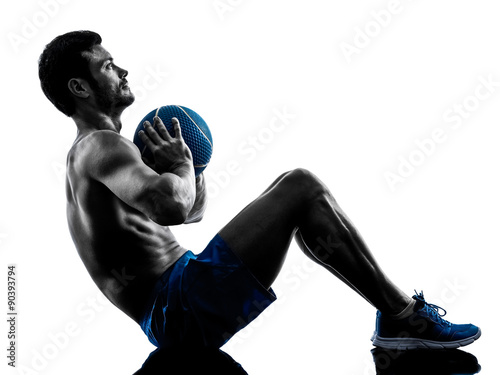 Fototapeta man exercising fitness weights exercises silhouette