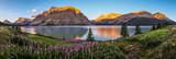 Fototapety Panorama of sunrise at Bow Lake, Banff National Park