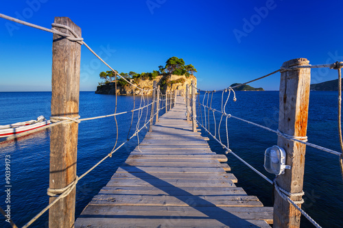 obraz PCV Hanging bridge to the island, Zakhynthos in Greece