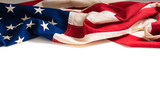Vintage American Flag on white with copy space