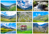 Collage Transfagarasan mountain road,Balea Lake Romanian Carpathians