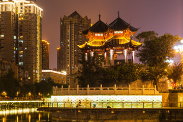 Night view of Hejiang Pavilion in Chengdu © Peter Stein