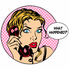 What happens woman phone question online support business concep