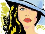 Pop Art twarz kobiety w kapeluszu