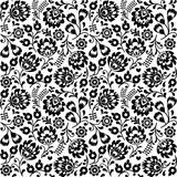 Seamless Polish folk art black floral pattern - wzory lowickie, wycinanki  - 90440716