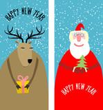 Set greeting Christmas cards. Santa Claus with Christmas tree ag