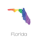 LGBT Scribbled shape of the State of Florida
