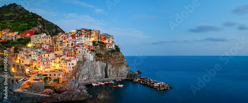 Aluminium Liguria Manarola, Cinque Terre (Italian Riviera, Liguria) high definition panorama at twilight