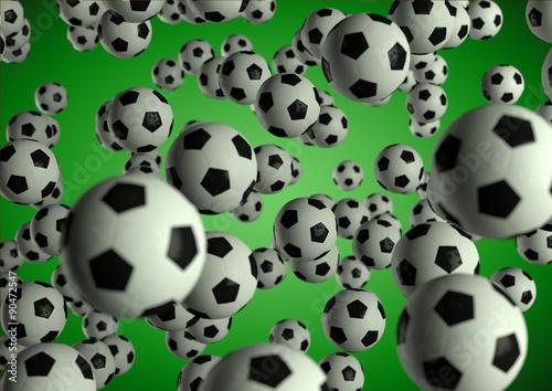 Soccer footballs flying through the air on moody green backgroun