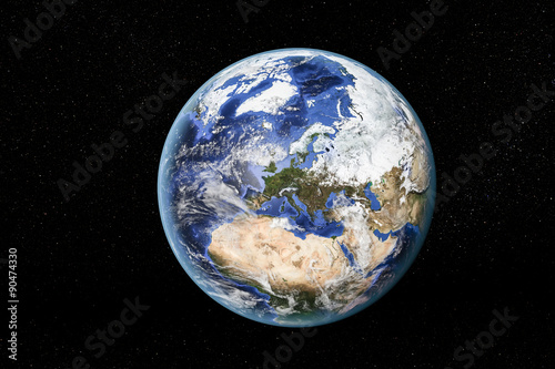 Detailed view of Earth from space, showing North Africa, Europe and the Middle East Poster