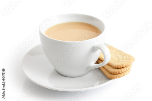 Poster White ceramic cup and saucer with tea and finger biscuits. Isola