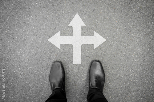 Poster Black shoes standing at the cross road