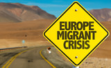 Europe Migrant Crisis sign with road background poster