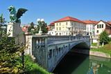 Fototapety Dragon's bridge, Ljubljana, Slovenia