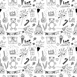 Doodle Birthday party background seamless pattern