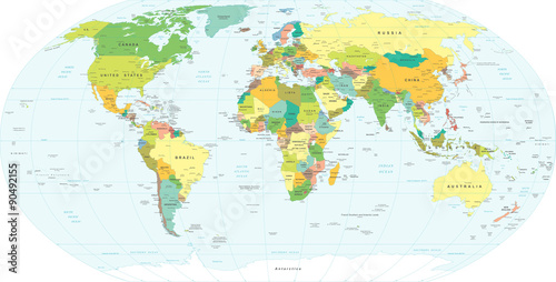 Poster, Tablou World Map - highly detailed vector illustration.
