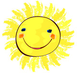 happy sun on white, childlike painting poster