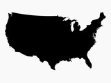 Detailed United States of America map in black