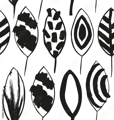 Seamless decorative pattern with ink drawn leaves. Texture in scandinavian style. Grunge background - 90496392