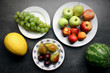 Fresh fruits on kitchen table background. Healthy eating concept.