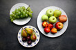 Fresh fruits on kitchen table, healthy eating background