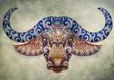 Tattoo, bull, buffalo head with horns - 90517778